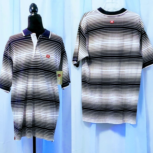 Ecko Unlimited Other - Ecko Unltd XL Black&White striped polo 🆕🐱🏍nwot
